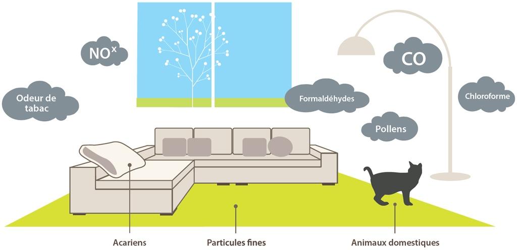 Illustration des polluants dans l'air
